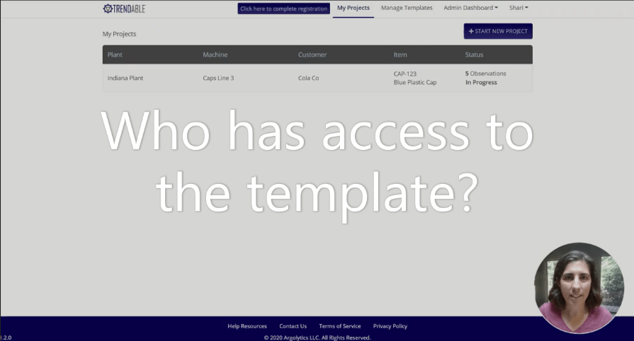 Template Access in TRENDABLE for Data Collection